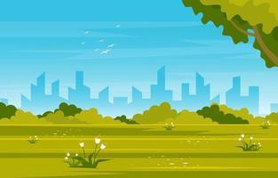 sommarpark med fält- och stadshorisontillustration vektor