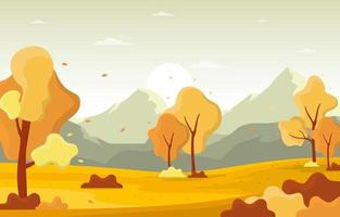 höst park scen med träd och berg vektor