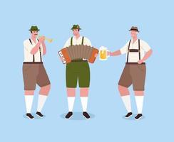 deutscher mann in traditioneller kleidung mit instrumenten zur oktoberfestfeier vektor