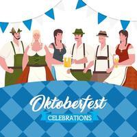 deutsche menschen in traditioneller kleidung zum oktoberfest vektor