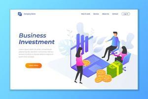 affärsinvestering webb banner bakgrund vektor mall.