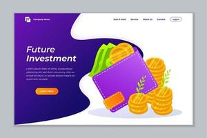Geld Investition Web Banner Hintergrund Vektor Vorlage.