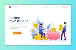 pengar investering webb banner bakgrund vektor mall.