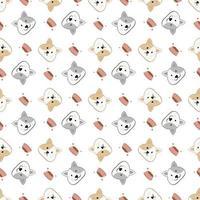 nahtloser niedlicher Katzenkarikatur, Katzenmusterschablone für Textil oder Hintergrund vektor