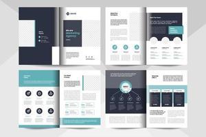 8 sidor layout för multifunktionell broschyrdesign. företags affärshäfte mall. vektor