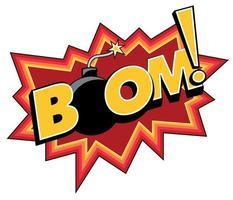 Vektor Kunst Comic Boom Explosion Aufkleber mit einer Bombe
