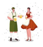 deutsche menschen in traditioneller kleidung zum oktoberfest
