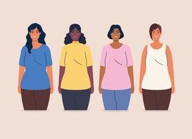 multietniskt grupp kvinnor tillsammans, mångfald och mångkulturella koncept vektor