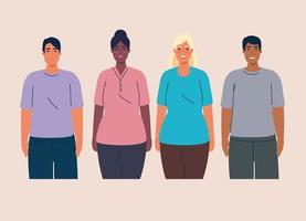 multiethnische Gruppe von Menschen zusammen, Vielfalt und Multikulturalismus Konzept vektor