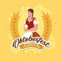 Oktoberfest Feier Banner mit Frau vektor