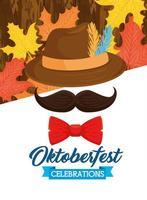 oktoberfest feier banner mit hut, schnurrbart und fliege vektor