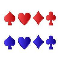 uppsättning poker tecken på vit bakgrund vektor