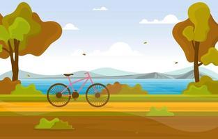 höstplats med sjö, träd och cykel vektor