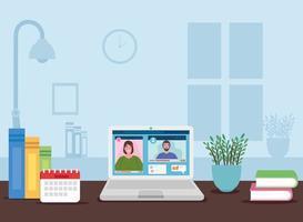 scen för distansarbete inomhushem med ett par i en videokonferens vektor