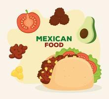 mexikansk mataffisch och taco med läckra ingredienser vektor