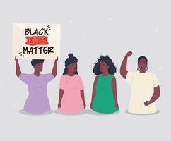 schwarze Leben sind wichtig, gruppieren Menschen von schwarzen Menschen mit Banner, stoppen Rassismus-Konzept vektor