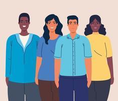 multietniska kvinnor och män tillsammans, mångfald och mångkulturella koncept vektor