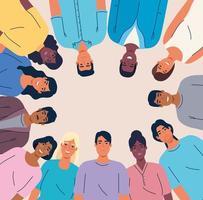 multietniskt förenade människor tillsammans, mångfald och mångkulturella koncept vektor
