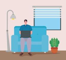 man med bärbar dator som arbetar hemifrån