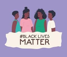 Schwarzes Leben Materie Banner mit Gruppe von Menschen, stoppen Rassismus Konzept vektor