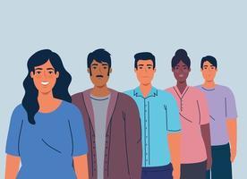 multiethnische Männer und Frauen zusammen, Vielfalt und Multikulturalismus Konzept vektor