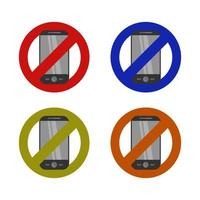 Smartphone-Verbot auf weißem Hintergrund eingestellt vektor