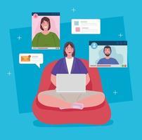 distansarbete, kvinna i en videokonferens som arbetar hemifrån