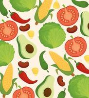 Hintergrund von frischem und leckerem Gemüse vektor