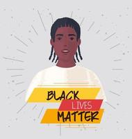 schwarze Leben Materie Banner mit Männern, stoppen Rassismus Konzept vektor