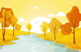 goldene Herbstszene mit Bäumen, Fluss und Sonne vektor