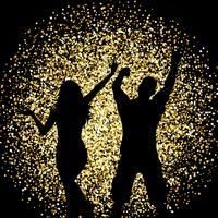 Schattenbilder von den Leuten, die auf Goldfunkelnhintergrund tanzen