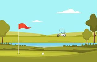 Golfplatz mit roter Fahne, Teich und Bäumen vektor