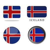 Island Flagge auf weißem Hintergrund gesetzt vektor
