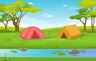 campingtält bredvid floden och träd vektor