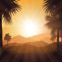 Tropiskt landskap vid solnedgången