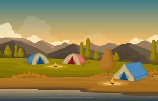 campingtält och lägereldar i bergen vektor