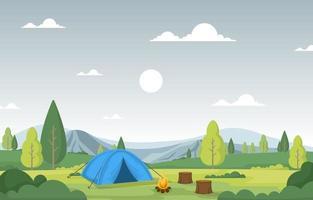 Campingzelt und Lagerfeuer in einem Gebirgstal vektor