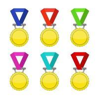uppsättning medaljer på vit bakgrund vektor