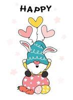 söt gnome på påskägg, glad påsk söt tecknad klotter vektor pastell