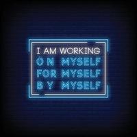 Ich arbeite Neonzeichen Stil Text Vektor