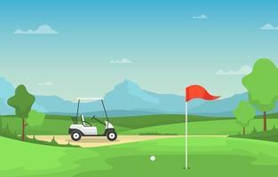 golfbana med röd flagga, golfbil och berg