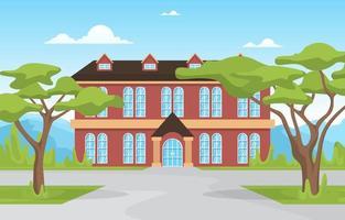 traditionelles Schulgebäude mit großen Bäumen vektor
