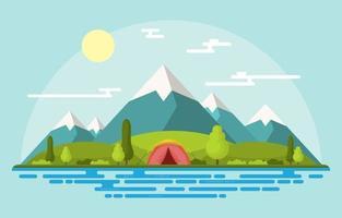 campingtält i bergen på en solig dag vektor