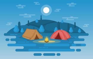 camping tält och lägereld i bergen på natten vektor