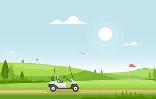Golfplatz mit roter Flagge, Golfwagen und Hügeln vektor