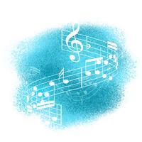 Musiknoten über Aquarellhintergrund