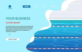 Landingpage mit Schwimmbad mit Fahrspuren vektor