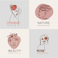 kvinnans ansikte med blommor och blad abstrakt en linje konstuppsättning. vektor