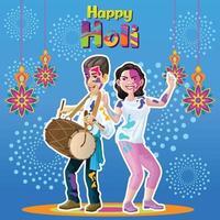 Holi-Grüße mit fröhlichen Tänzern vektor