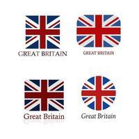 Großbritannien Flagge auf weißem Hintergrund gesetzt vektor